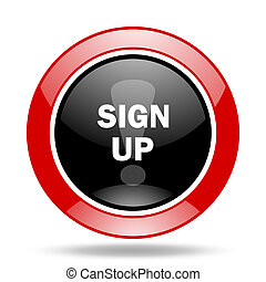 sign up red and black web glossy round icon