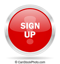 sign up red glossy circle modern web icon