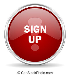 sign up red glossy circle web icon