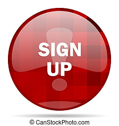 sign up red round circle glossy modern design web icon