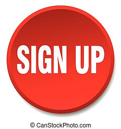 sign up red round flat isolated push button