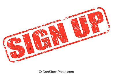 Sign up red stamp text