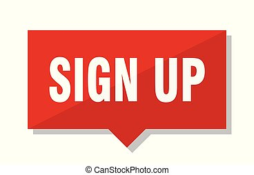 sign up red tag