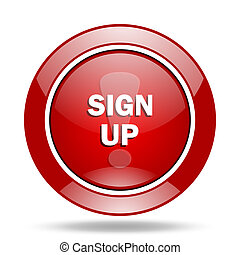sign up red web glossy round icon