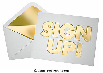 Sign Up Register Invitation Envelope Join Us 3d Illustration