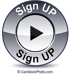 Sign up round button. - Sign upround metallic button. Vector...
