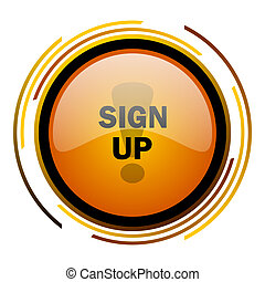 sign up round design orange glossy web icon