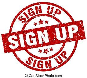 sign up round red grunge stamp
