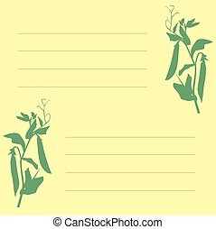 sign-up sheet with a picture of peas