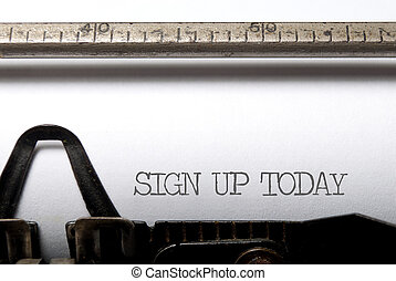 Sign Up - Sign up printed on a typewriter