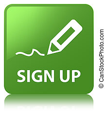Sign up soft green square button