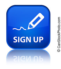 Sign up special blue square button