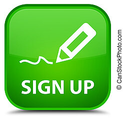 Sign up special green square button