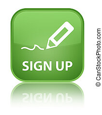 Sign up special soft green square button