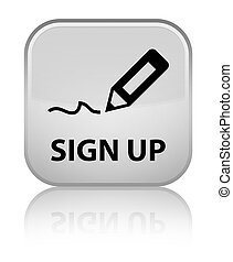 Sign up special white square button
