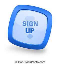 sign up square glossy blue web design icon