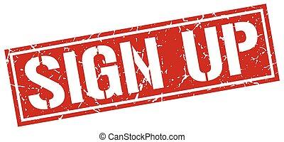 sign up square grunge stamp