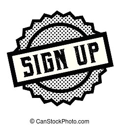 sign up stamp on white