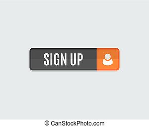 Sign up web button, rectangle flat design