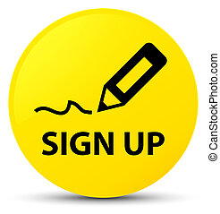 Sign up yellow round button