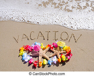"Sign ""Vacation"" on the sandy beach with starfishes - Sign..."