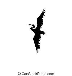 Sign vector silhouette of the heron