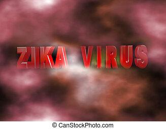 sign virus zika on a misty background