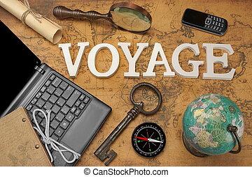 Sign Voyage, Laptop, Key, Globe, Compass, GSM Phone, Letter, Magnifier