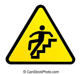 Sign warning for slippery stairs when wet