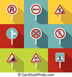 Sign warning icons set, flat style - Sign warning icons set....