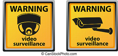 sign warning of surveillance camera vector illustration