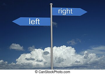 Sign - Way left , way right, on sky