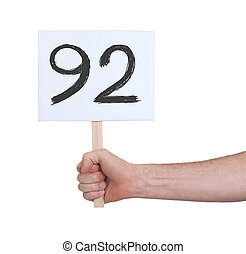 Sign with a number, 92 - Sign with a number, isolated on...