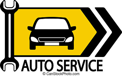 sign with car, wrench and arrow - information road sign with...