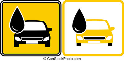 sign with fuel oil drop and car