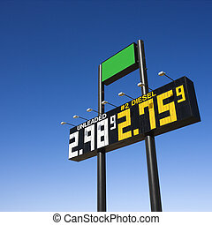 Sign with fuel prices. - Sign displaying gasoline prices.