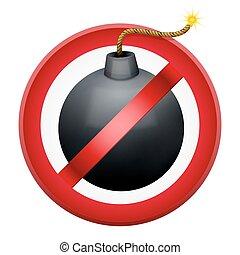 Sign with gun and symbol Stop terrorism