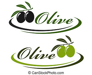 sign with olives - sign with colorful olives and decorative...