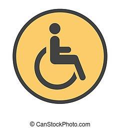 signwith, pessoa, cadeira rodas, estrada