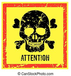 Sign with Scull Attention and Warning Vector Image