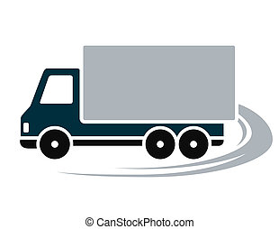sign with shipping truck and abstract road