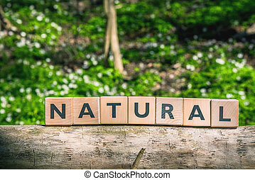 Sign with the word natural