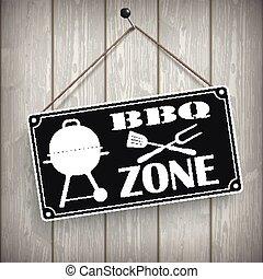 Sign Wooden Background BBQ Zone