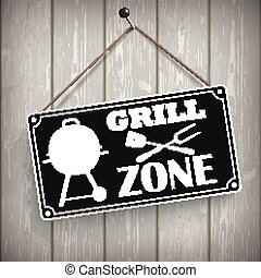 Sign Wooden Background Grill Zone