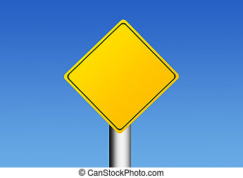 Sign - Yellow road sign over sky background with space in...
