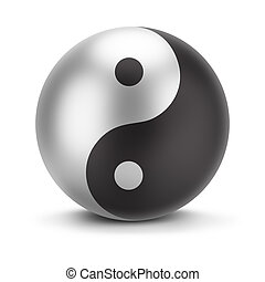 yin yang - sign yin yang. 3d image. Isolated white...