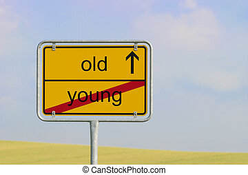 sign young old