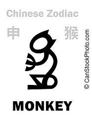 (sign, zodiac), scimmia, cinese, astrology: