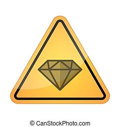 signaal, diamant, pictogram, gevaar