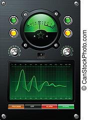 signaal, sine, groene, analoog, meter